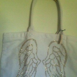 Secret LARGE Tote Bag/Shopper ANGEL Wings White Sparkling Gold Studs