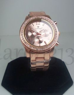 NEW DESIGNER INSPIRED ROSE GOLD WOMENS BRACELET WATCH W/CRYSTALS