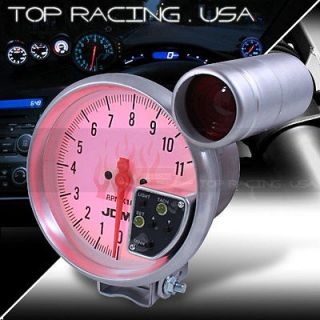 JDM Sport Universal 5 White 11K RPM Tachometer 7 Color LED Gauge w