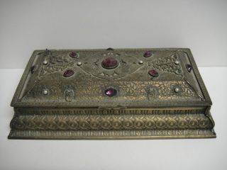 Antique Jeweled Dresser Vanity Trinket Jewelry Casket Box