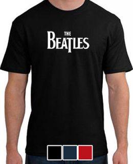 BEATLES LOGO BLACK SMALL MENS T SHIRT SHIRT ROCK POP MUSIC RETRO 60s