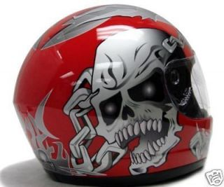 RED SKULL FULL FACE MOTORCYCLE SCOOTER HELMET STREET SPORT BIKE BIKER