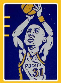Cajmear Reggie Miller Indiana Pacers shirt jersey champion UCLA vtg