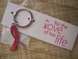 Breast Cancer Awareness Metal Pink Ribbon Key Chain