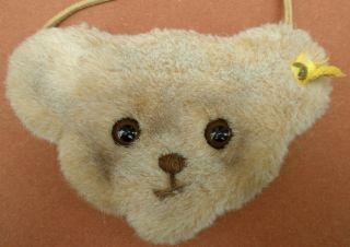 Vtg STEIFF TEDDY Bear Head Logo PURSE BAG handbag ID woven fur plush
