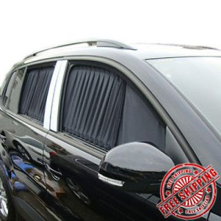 NEW 2PCS LUXURY BLACK AUTO CAR CURTAINS WINDOW SHADE VISOR SUNSHADE