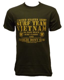 NEW PRINTED T SHIRT SURF TEAM VIETNAM CHARLIE DONT SURF