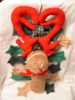 1970s Sock Monkey REINDEER stuffed Wall Display Christmas Decoration