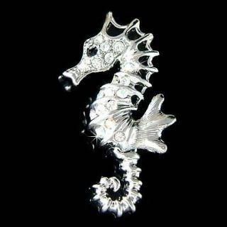 BRIDAL w Swarovski Crystal Sea Horse Marine ~~SEAHORSE pin Brooch
