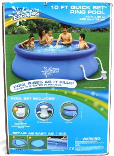 Brand New Summer Escapes 10 FT Ring Pool Filter Pump System