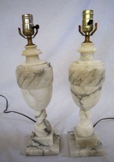 HOLLYWOOD REGENCY ALABASTER URN LAMPS, PAIR