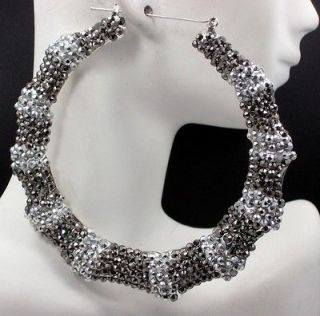 Wives Inspired Silver Tone Bamboo Rhinestone Hoop Earrings New
