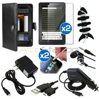 Leather Pouch Case+Chargers+2xLCD Guard+ For  Kindle Fire 7
