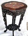 1930S ANTQ CARVED ROSEWOOD MARBLE TABLE PLANT STAND