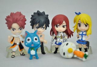 Fairy Tail Natsu /Happy /Lucy /Gray /Elza figures doll toy 6PCS