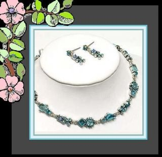 Something Blue Tennis Necklace Set Bridal Bridesmaid Wedding Jewelry