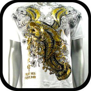 Artful Couture T Shirt Koi Fish Vtg AW17 Sz M L XL XXL Tattoo Rock