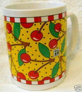 MUG CUP CHERRIES 1993 YELLOW RED GREEN LEAVES ME INK COFFE TEA