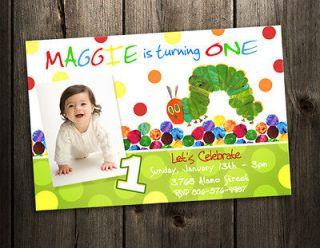 VERY HUNGRY CATERPILLAR BIRTHDAY PARTY INVITATION CARD CUSTOM INVITE