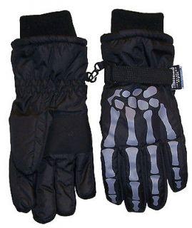 Glove. NIce Caps TM boys Thinsulate and waterproof skeleton print ski