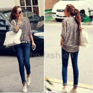 XL New Women 3/4 Sleeve Casual Leopard Print Shirt Tops Button