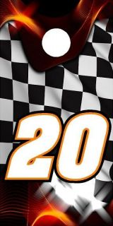 20 racing checkered flag flame cornhole board wrap decal set COOL