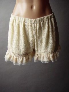 Ivory Embroidered Lace Romantic Victorian Bloomers Style Frilly Ruffle