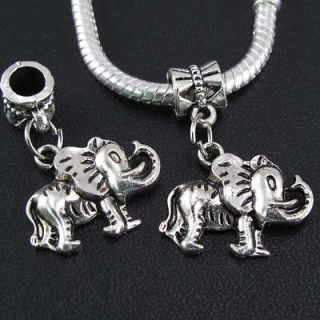 Tibetan Silver elephant Dangles Charms Beads Fit European Bracelet