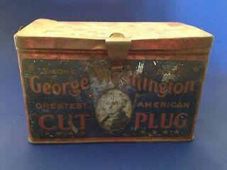 antique George Washington Cut Plug Tobacco chew smoke tin   1920s