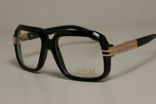 NEW Large square black GOLD clear lens RUN DMC glasses clear lens nerd