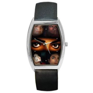 of Michael Jackson Collectible Photos Silver Tone Barrel Style Watch