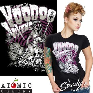 Voodoo Vixen T Shirt Rockabilly Punk Tattoo Pin Up Skull Retro
