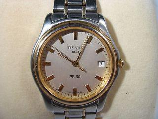 Tissot PR50 Mens Wrist Watch Quartz With Box Gold Plated Band #1n