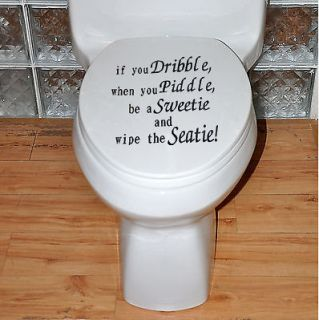 US Dribble Toilet Lid Seat Decal Cistern Tile Art Wallpaper Graphics