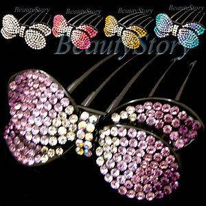 ADDL Item  1pc rhinestone crystal bow tie French twist
