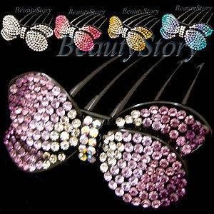 ADDL Item  1pc rhinestone crystal bow tie French twist