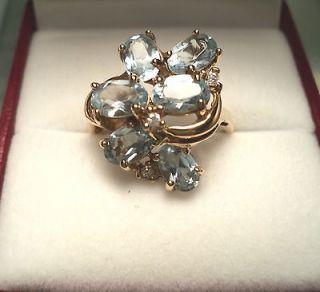 SOLID 14K YELLOW GOLD 3CT DIAMOND & BLUE TOPAZ RING & JEWELRY BOX