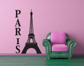 PARIS / EIFFEL TOWER Wall Art Sticker   Various Colours and Sizes
