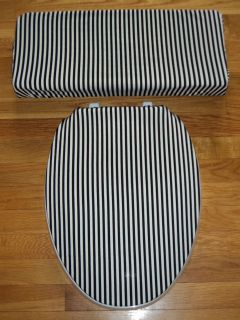 Black and White Stripes Toilet Seat & Tank Lid Cover Set