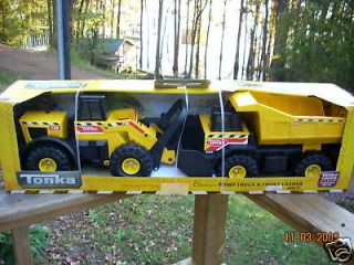 NEW TONKA CLASSICS STEEL FRONT END LOADER AND DUMP TRUCK COMBO   MIB