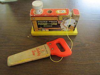 Little Fisher Price safty saw carpenter wood toy pound bench 728