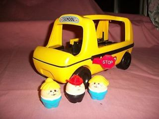YELLOW & BLACK SCHOOL BUS W 3 CHUNKY PEOPLE FIGURES STOP SIGN OPENS