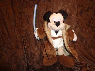 Disneyland mickey mouse jedi star wars plush stuffed animal brown robe