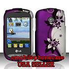 Purple Vines Snap On Rubber Coating Hard Case Cover LG 800G TracFone