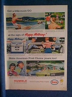 1963 Humble Oil Enco Ad ~ Summertime   New Uniflo Oil Can & Gas