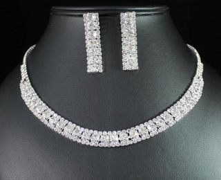 CLEAR AUSTRIAN RHINESTONE CHOKER NECKLACE EARRINGS SET BRIDAL N1382