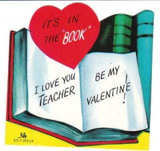Vintage Valentine Card Teacher Its in the Book Books CAC Die Cut for