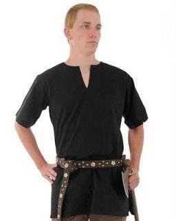 MEDIEVAL VIKING NORSEMAN SAXON Mens Short Sleeve Black COTTON SHIRT
