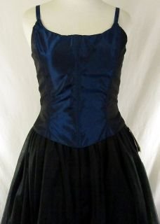 Blue Corset Dress Formal Gown Goth Steampunk Victorian Halloween