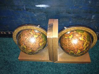 Vintage Old World Globe Wooden Bookends Set Pair Olde Book Ends Wood